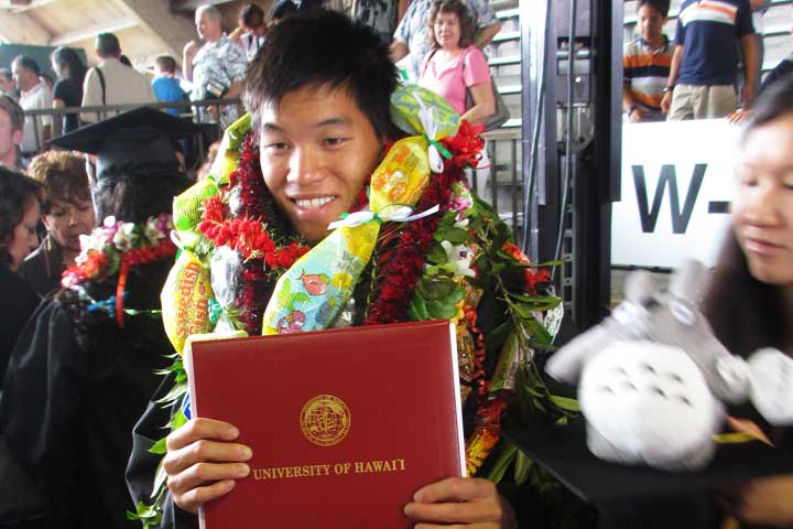 Graduating from University of Hawaii at Hilo